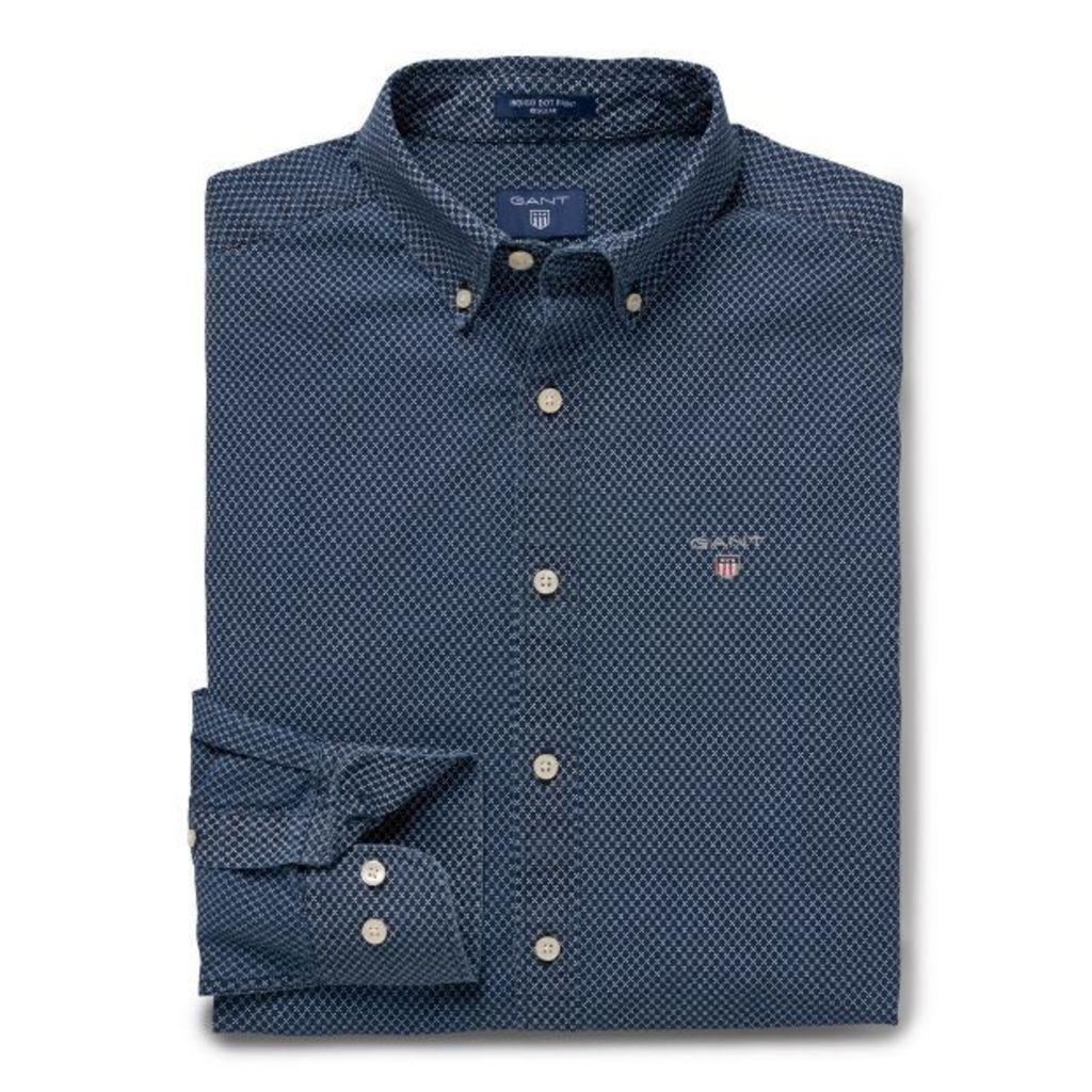 Regular Fit Indigo Dot Print Broadcloth Shirt - White
