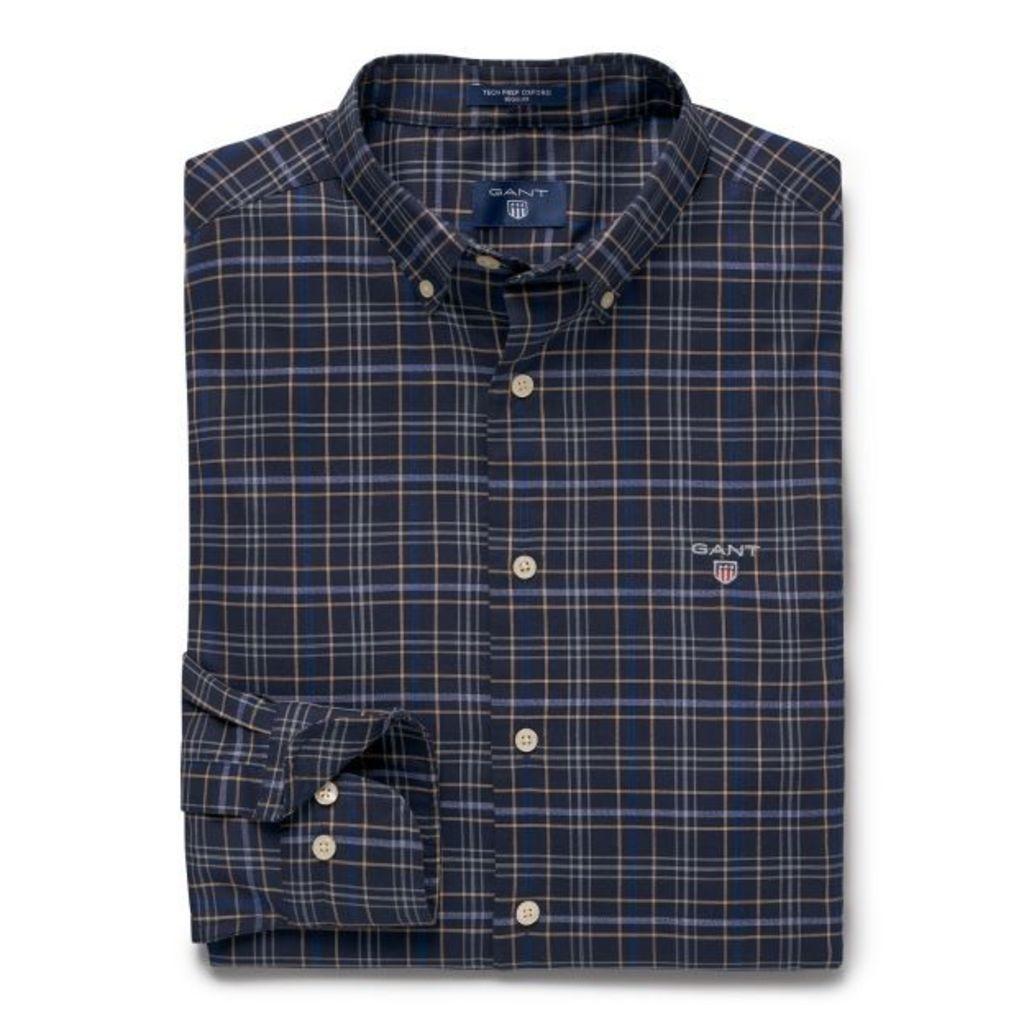 Regular Fit Tech Prep™ Oxford Check Shirt - Classic Blue