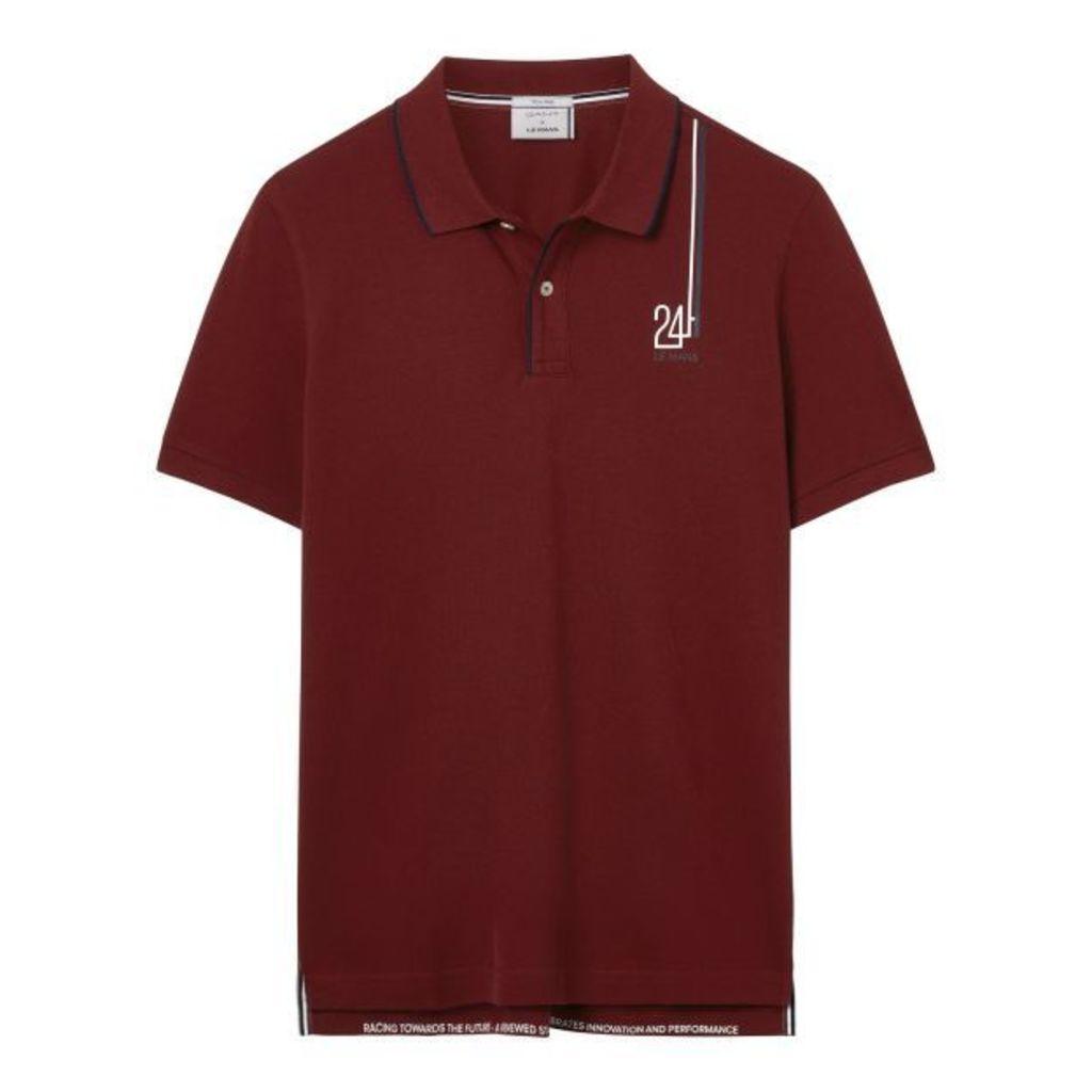 Le Mans Badge Polo Shirt - Mahogny Red