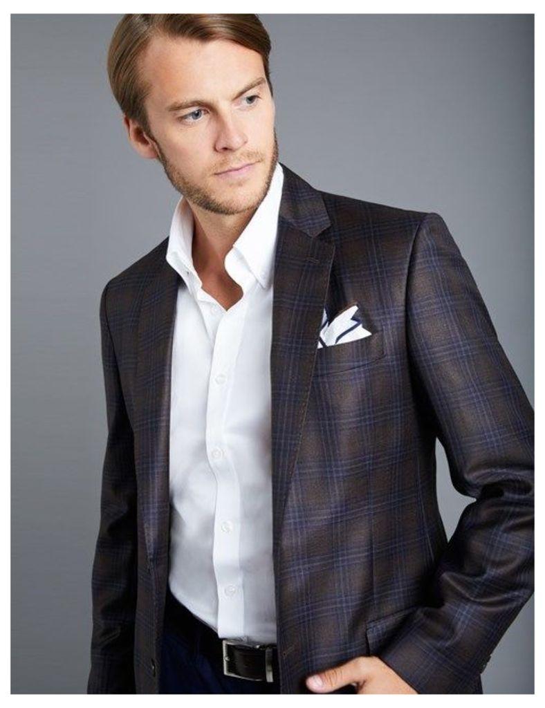Men's Brown & Navy Check Blazer - 100% Wool - 1913 Collection