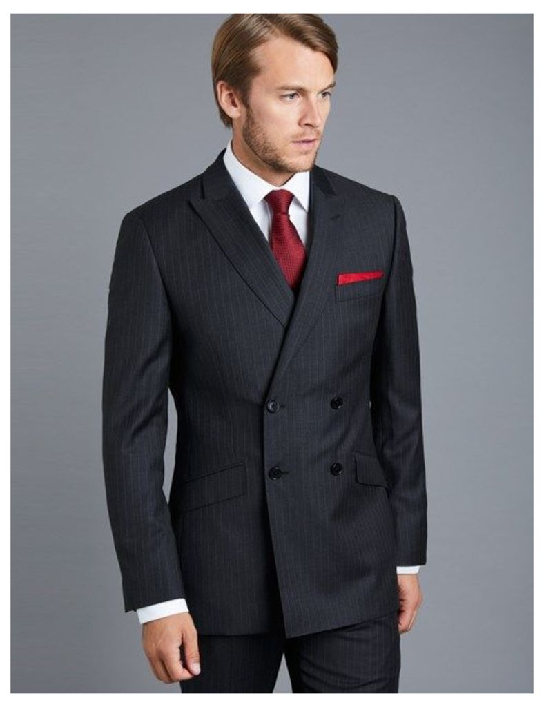 Men's Charcoal Grey Pinstripe Slim Fit Suit - Double Breasted - Super 120s Wool