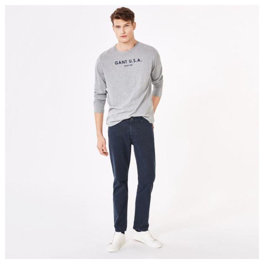 Regular Fit Soft Twill Jeans - Marine Melange