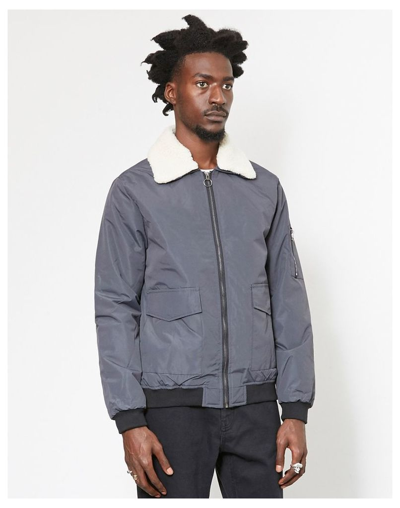 The Idle Man Borg Collared Cotton Bomber Jacket Grey