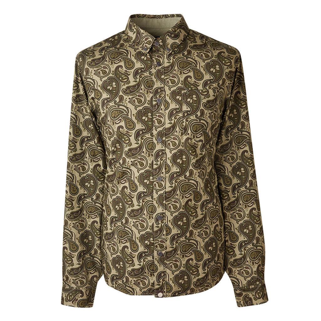 Pretty Green Men's Slim Fit Paisley Print Shirt - Khaki - S