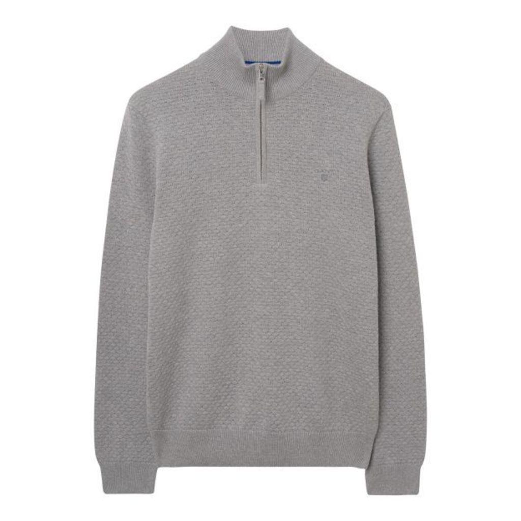Dot Texture Halfzip Sweater - Grey Melange