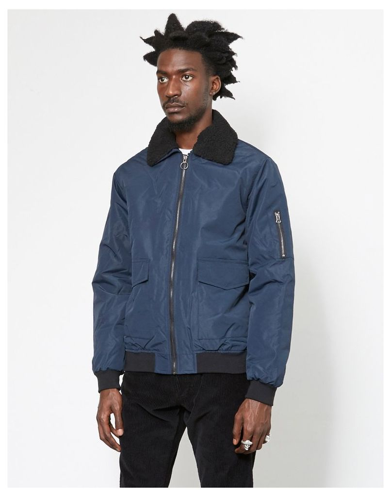 The Idle Man Borg Collared Cotton Bomber Jacket Navy