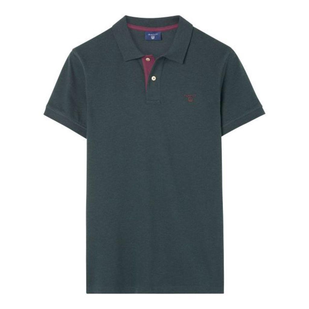 Short-sleeved Piqué Polo Shirt - Tartan Green Mel