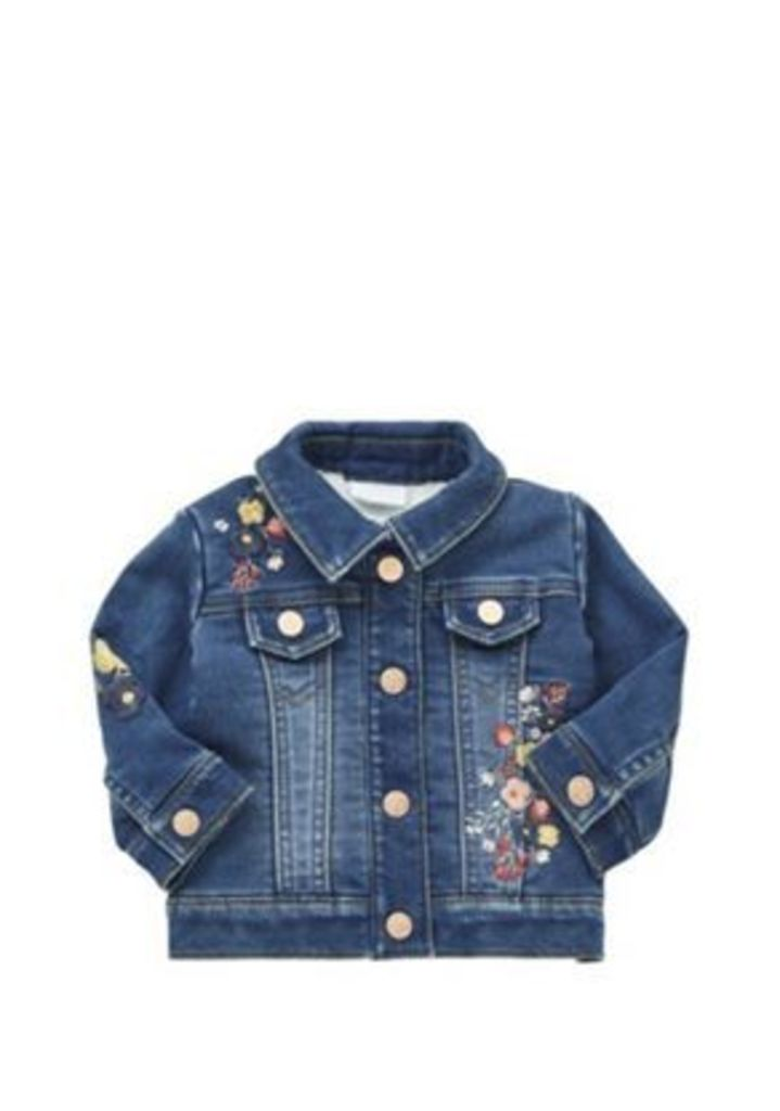 F&F Embroidered Fleece Lined Denim Jacket, Newborn Girl's, Size: 0-3 months