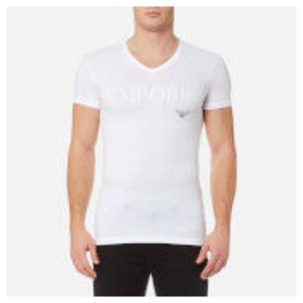 Emporio Armani Men's Stretch Cotton V Neck T-Shirt - Bianco