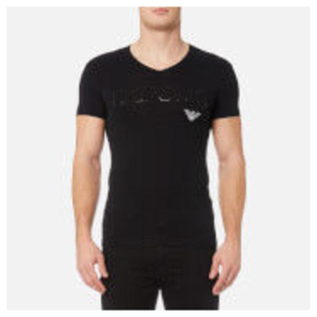 Emporio Armani Men's Stretch Cotton V Neck T-Shirt - Nero