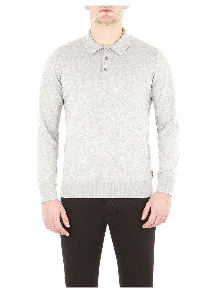 Cotton Long Sleeve Polo XXXL Mid Grey Marl