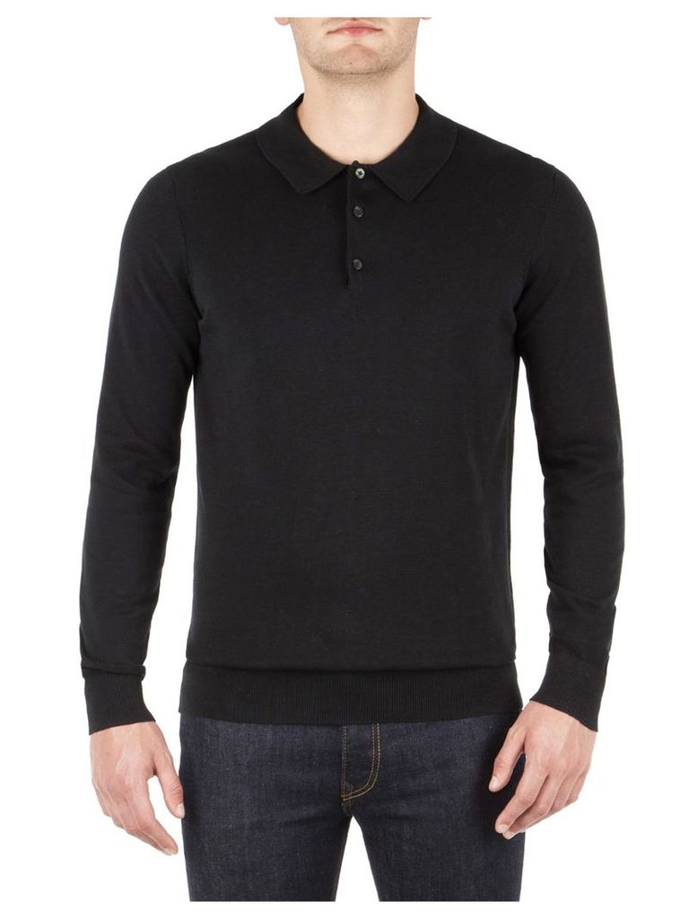 Cotton Long Sleeve Polo XXXL True Black