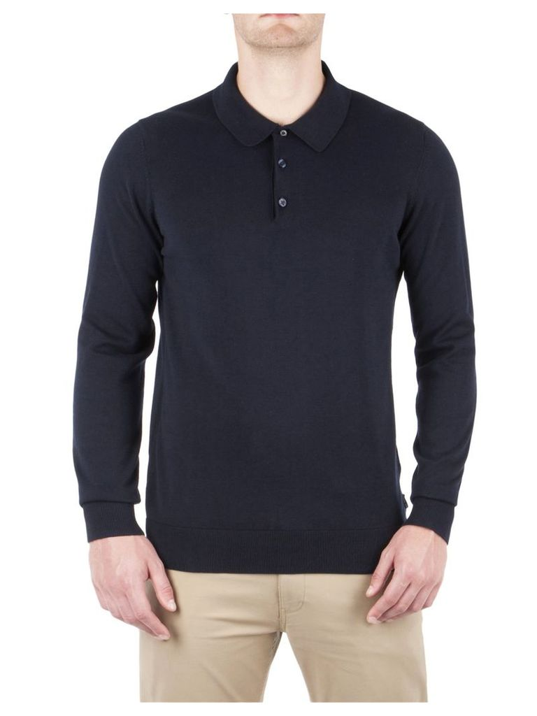 Cotton Long Sleeve Polo XXXL Navy Blazer