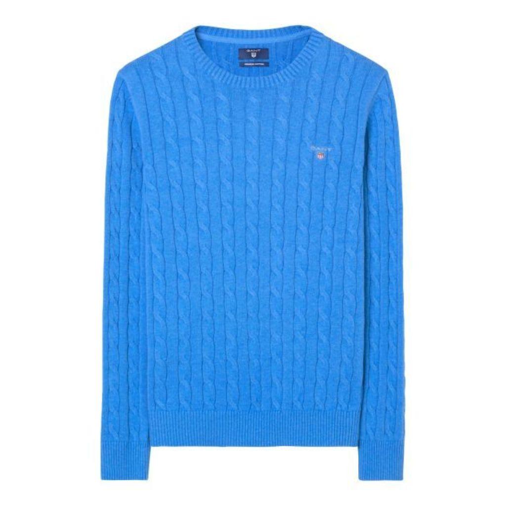 Cotton Cable Crewneck Jumper - Ocean Blue Melange