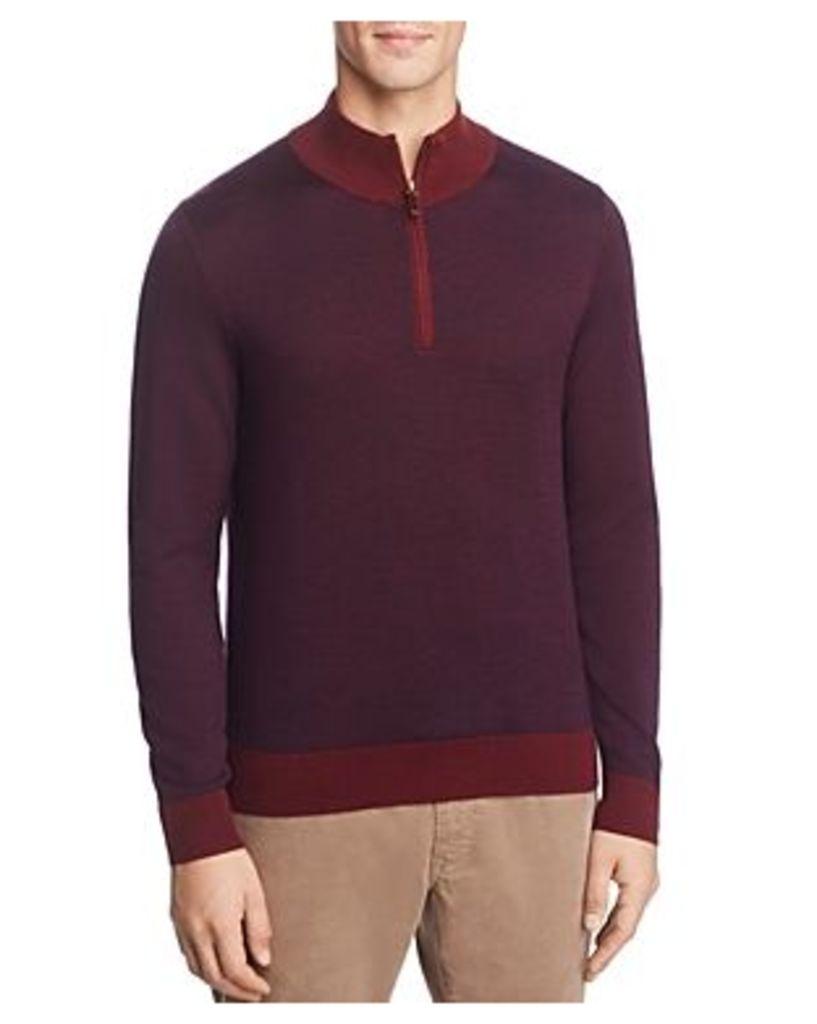 Brooks Brothers Birdseye Quarter-Zip Sweater
