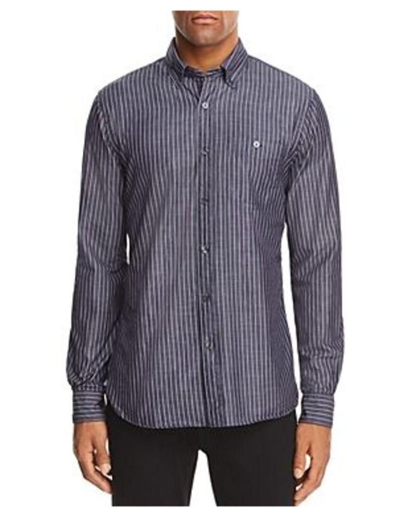 Todd Snyder Indigo Stripe Long Sleeve Button-Down Shirt