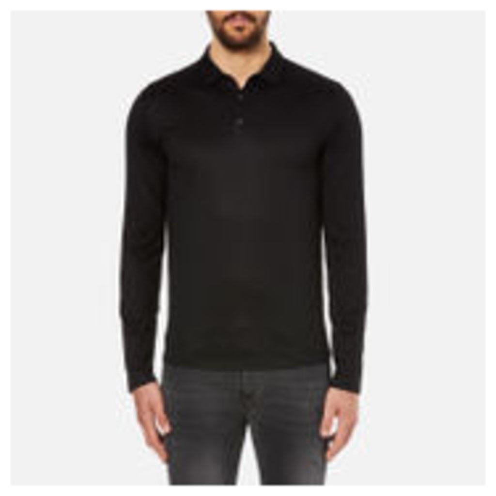 HUGO Men's Delato Long Sleeve Mercerised Polo Shirt - Black