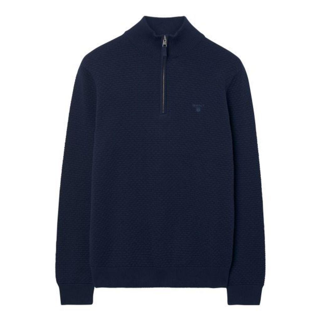 Dot Texture Halfzip Sweater - Classic Blue
