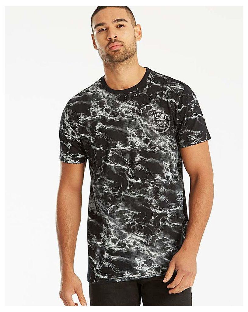 Label J Marble Print T-Shirt Long