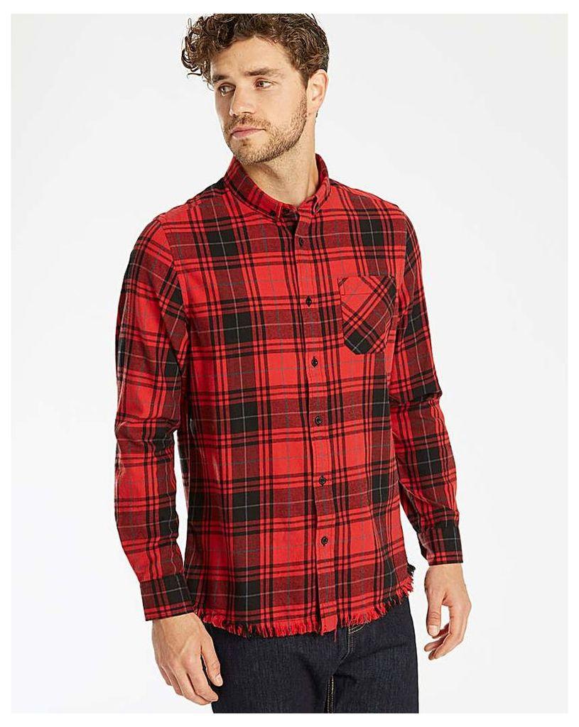Label J LS Frayed Hem Checked Shirt Long