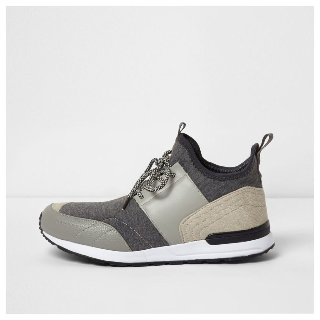 River Island Mens Grey mid top runner sock trainers