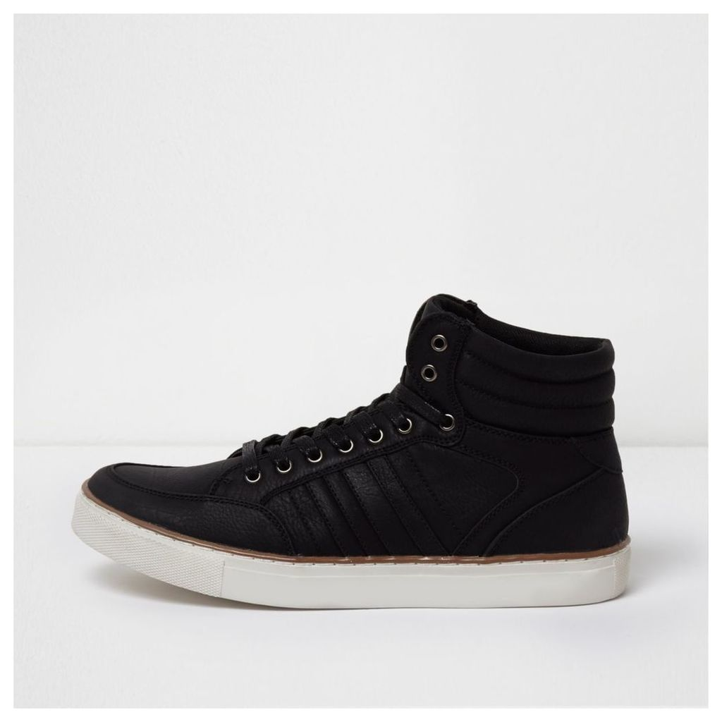 River Island Mens Black mid top lace-up trainers