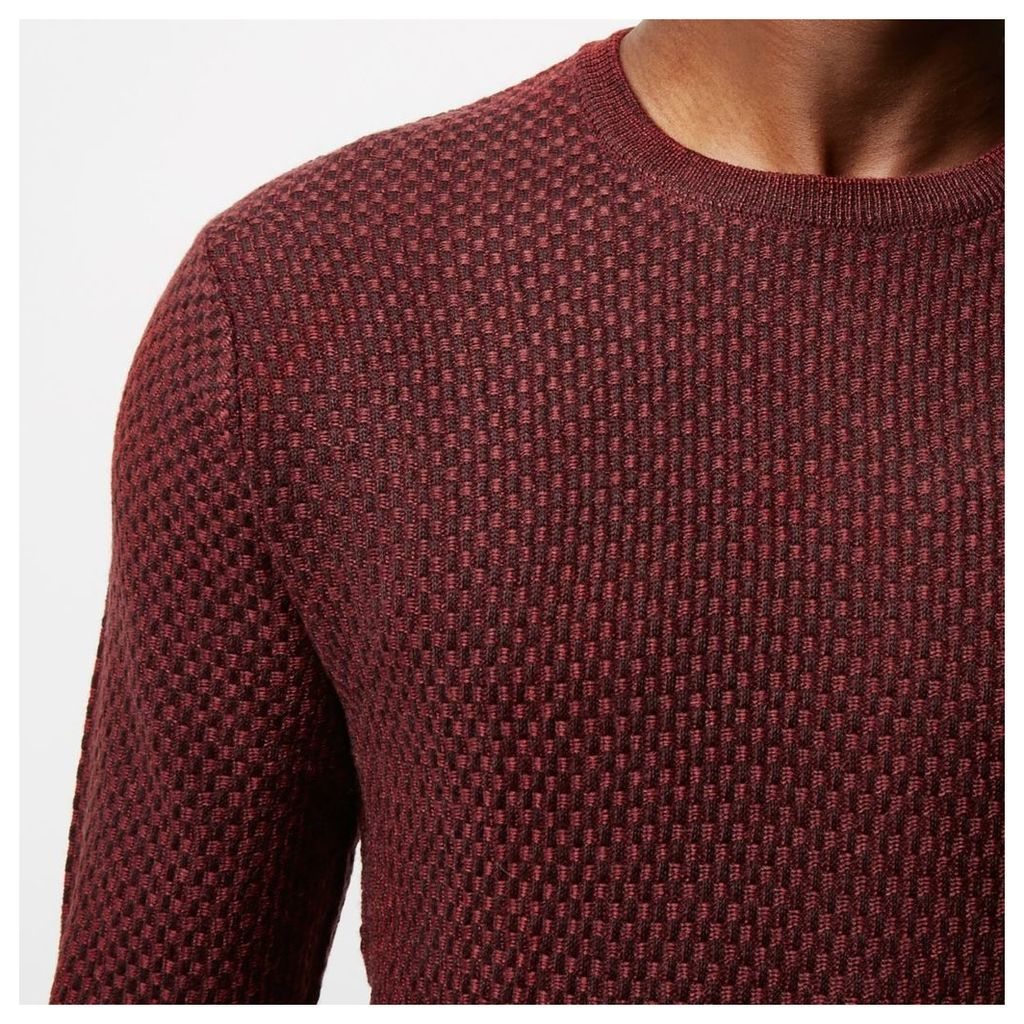 River Island Mens Red textuRed wool knit jumper