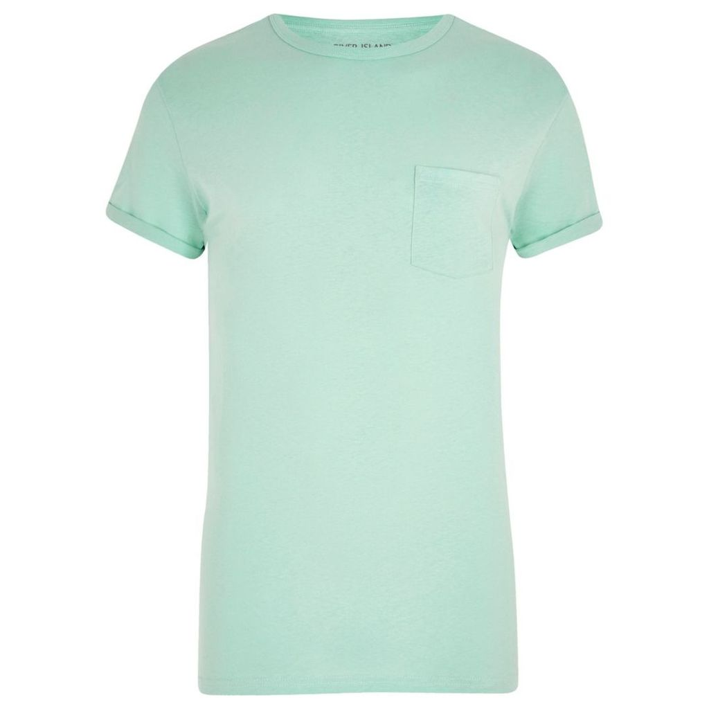 River Island Mens Light Green rolled sleeve pocket T-shirt