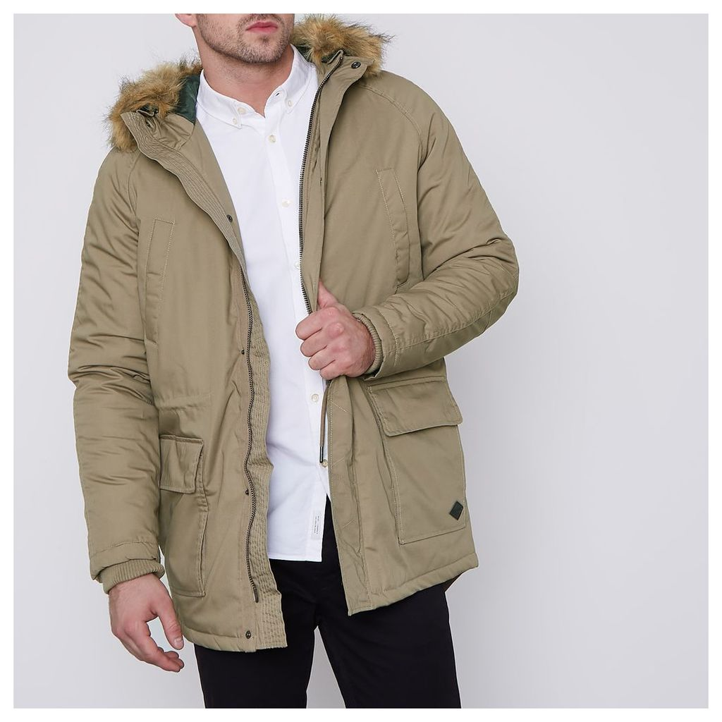 River Island Mens Brown Only and Sons faux fur trim parka