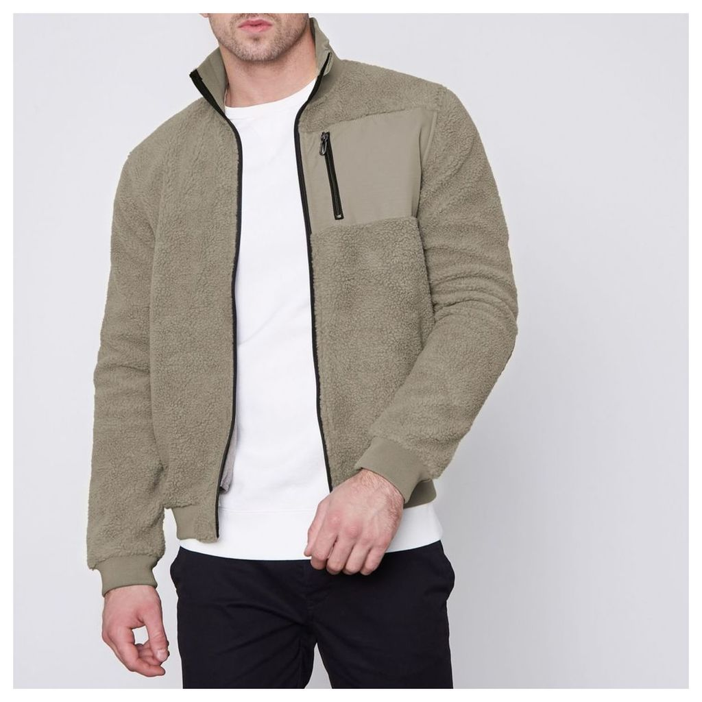 River Island Mens Grey Only and Sons teddy fleece zip-up jacket