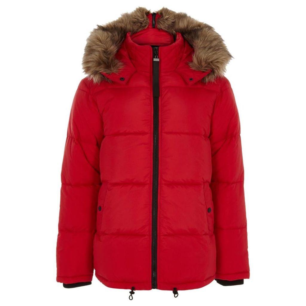 River Island Mens Big and Tall Red hooded puffer jacket