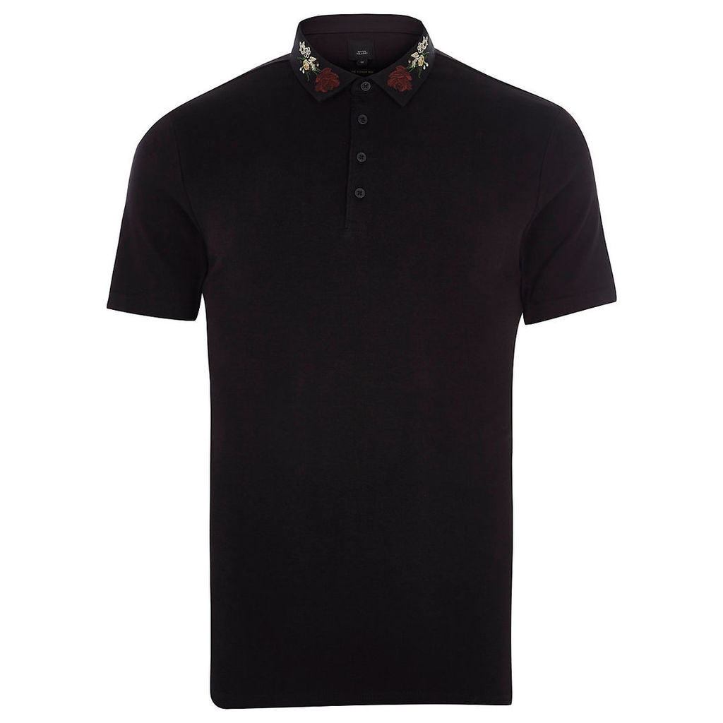 River Island Mens Black embroidered collar slim fit polo shirt
