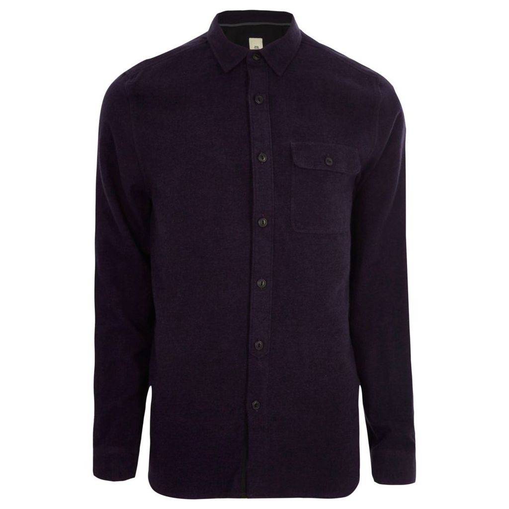 River Island Mens Purple grindle long sleeve casual shirt