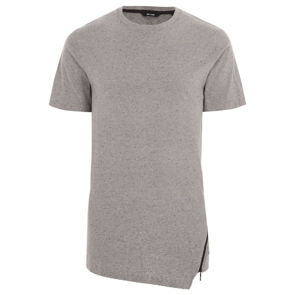 River Island Mens Grey Only and Sons stripe zip hem T-shirt