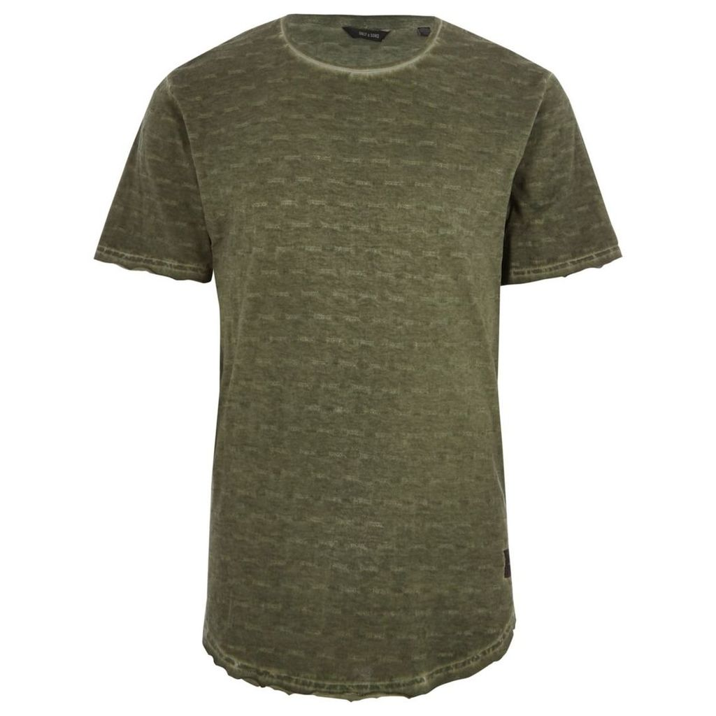 River Island Mens Khaki green washed Only and Sons slub T-shirt