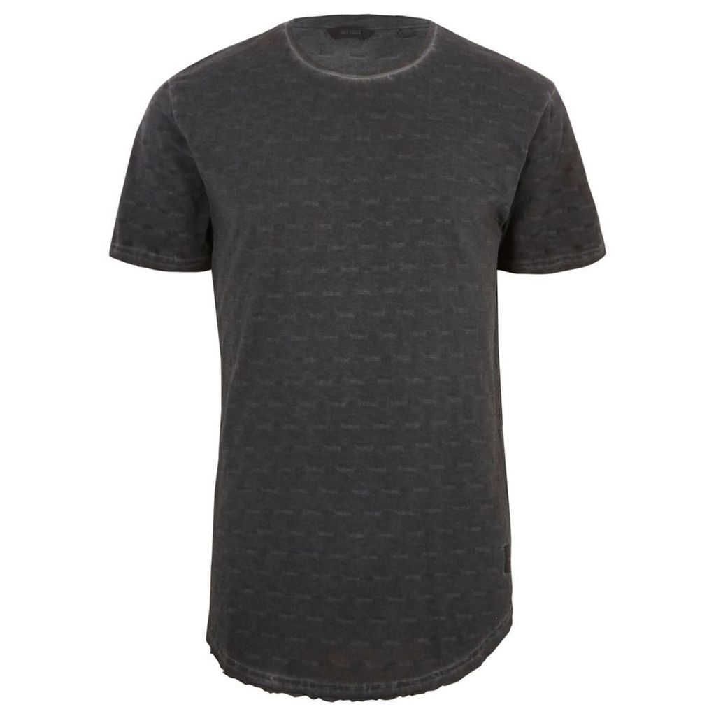 River Island Mens Black washed Only and Sons slub T-shirt