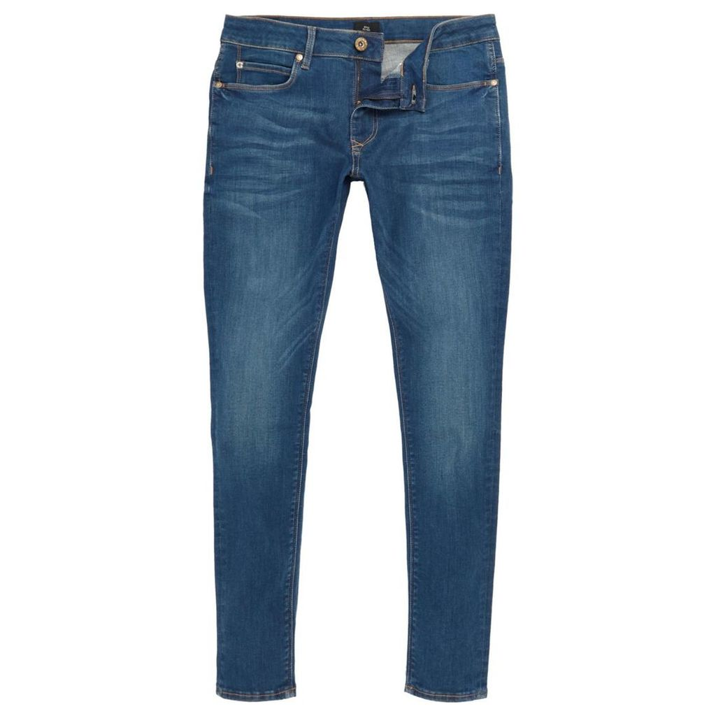 River Island Mens Mid Blue Ollie super skinny spray on jeans