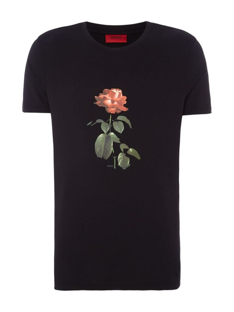 Men's Hugo Drose Rose Graphic T-shirt, Black