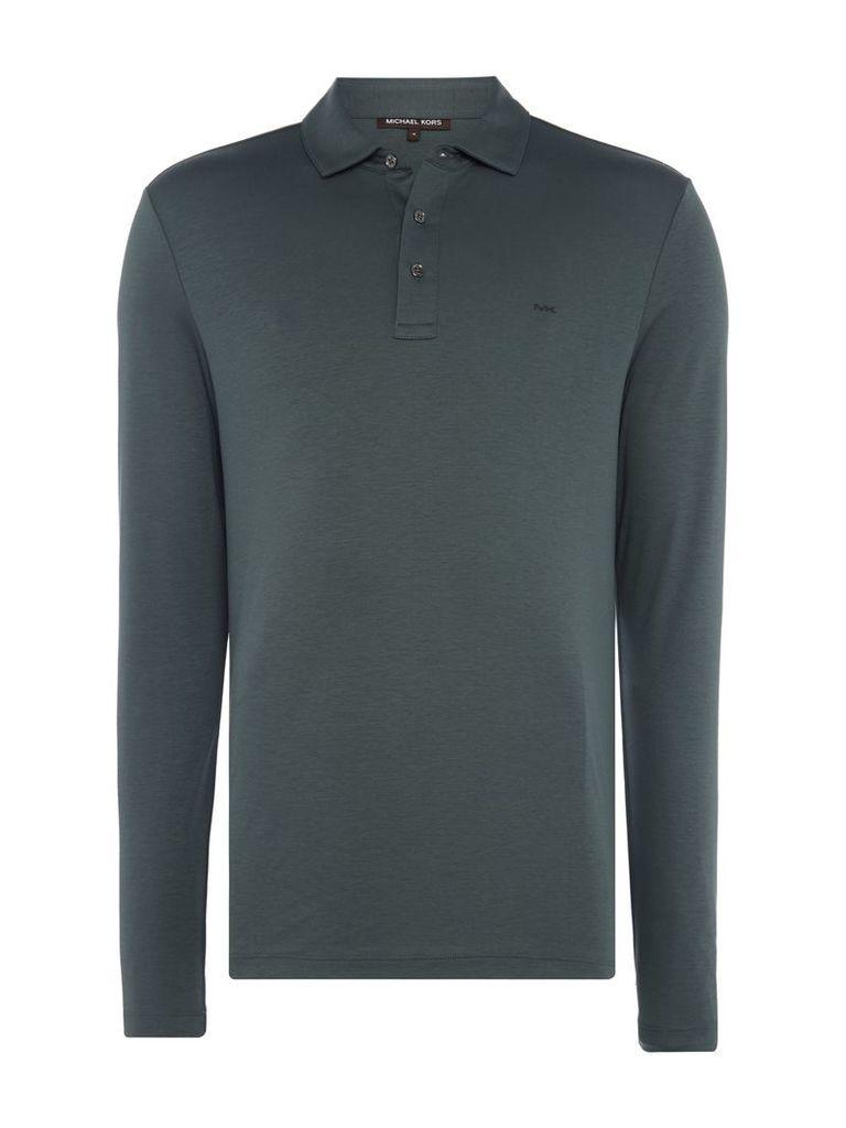 Men's Michael Kors Long Sleeve Slim Fit Polo Shirt, Dark Green
