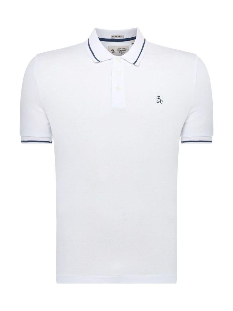 Men's Original Penguin Tipped Polo Shirt, White