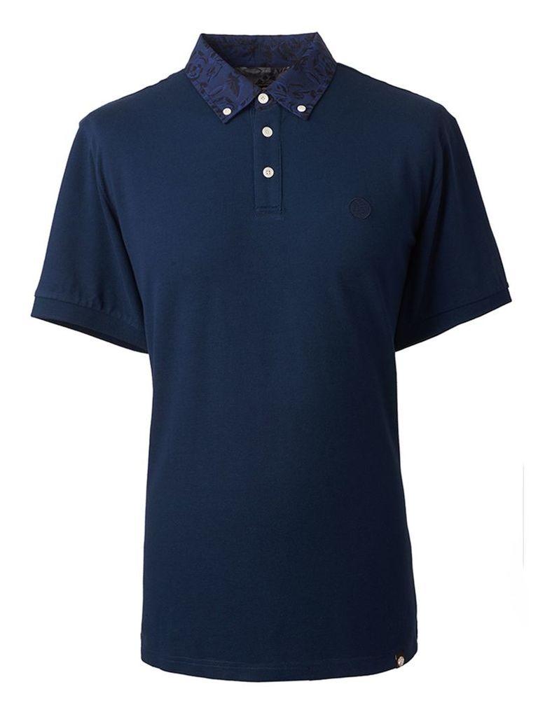 Men's Pretty Green Floral Pattern Collar Polo Shirt, Blue