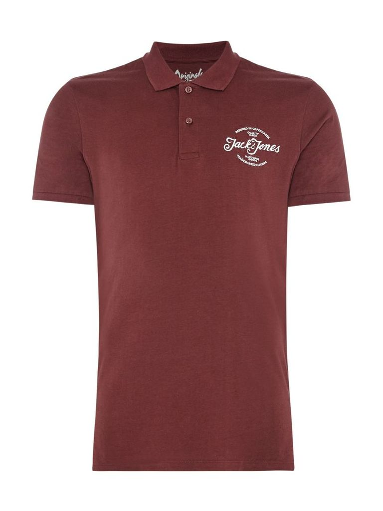Men's Jack & Jones Raf Contrast Collar Polo Shirt, Port