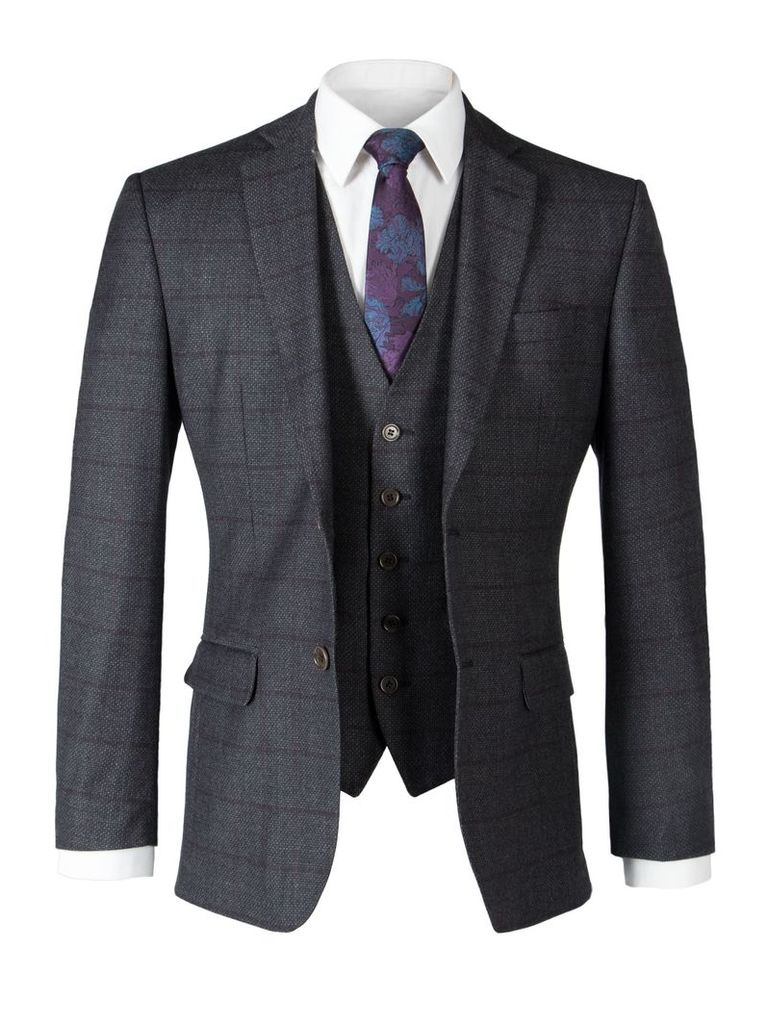 Men's Alexandre of England Ropley Charcoal Check Tailored Jacket, Charcoal