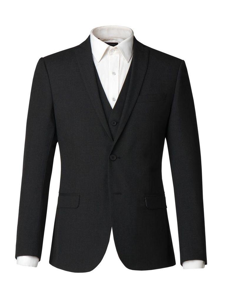 Men's Limehaus Harry Plain Charcoal Panama Jacket, Charcoal