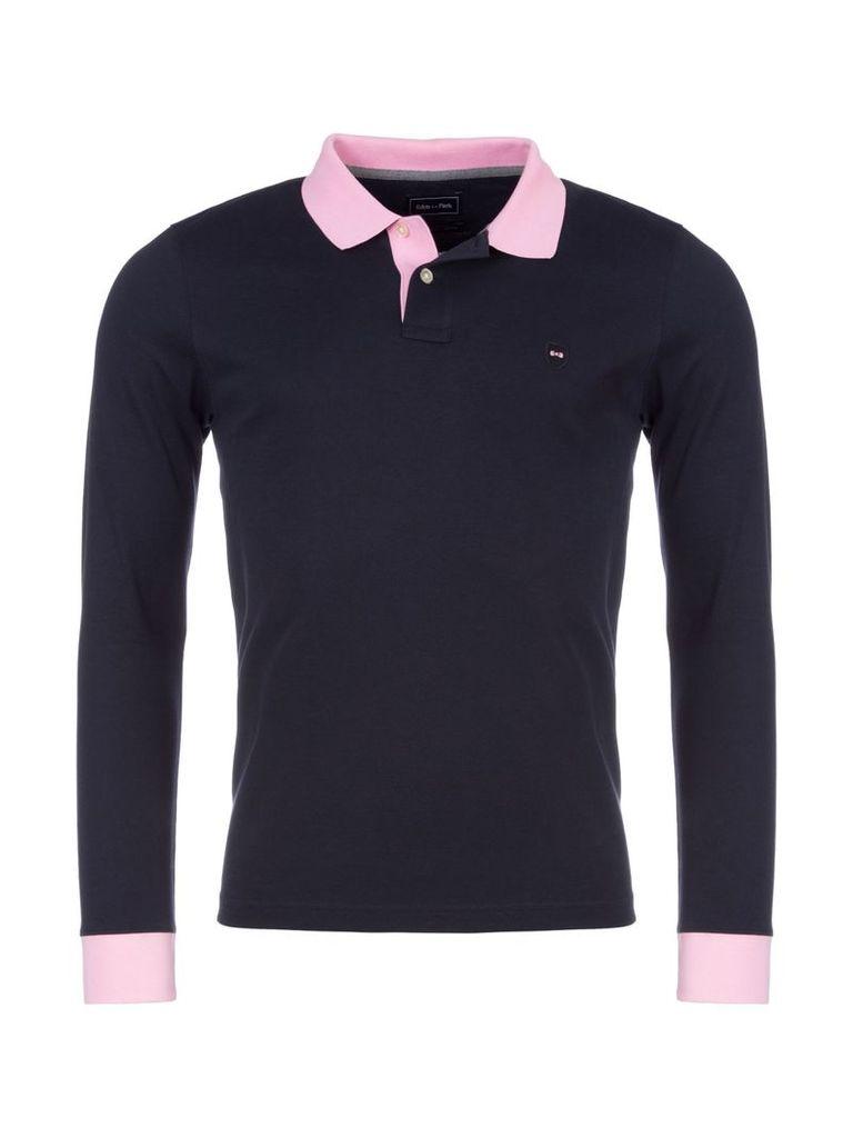 Men's Eden Park Cotton Polo Shirt with Contract Trims, Blue