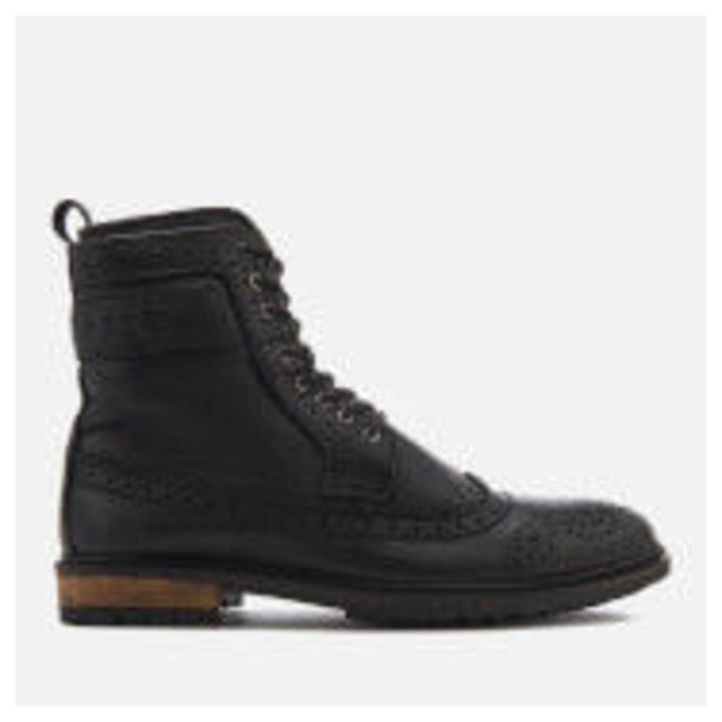 Superdry Men's Brad Brogue Boots - Black Leather