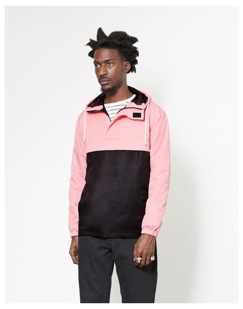 The Idle Man Overhead Pullover Jacket Black & Pink