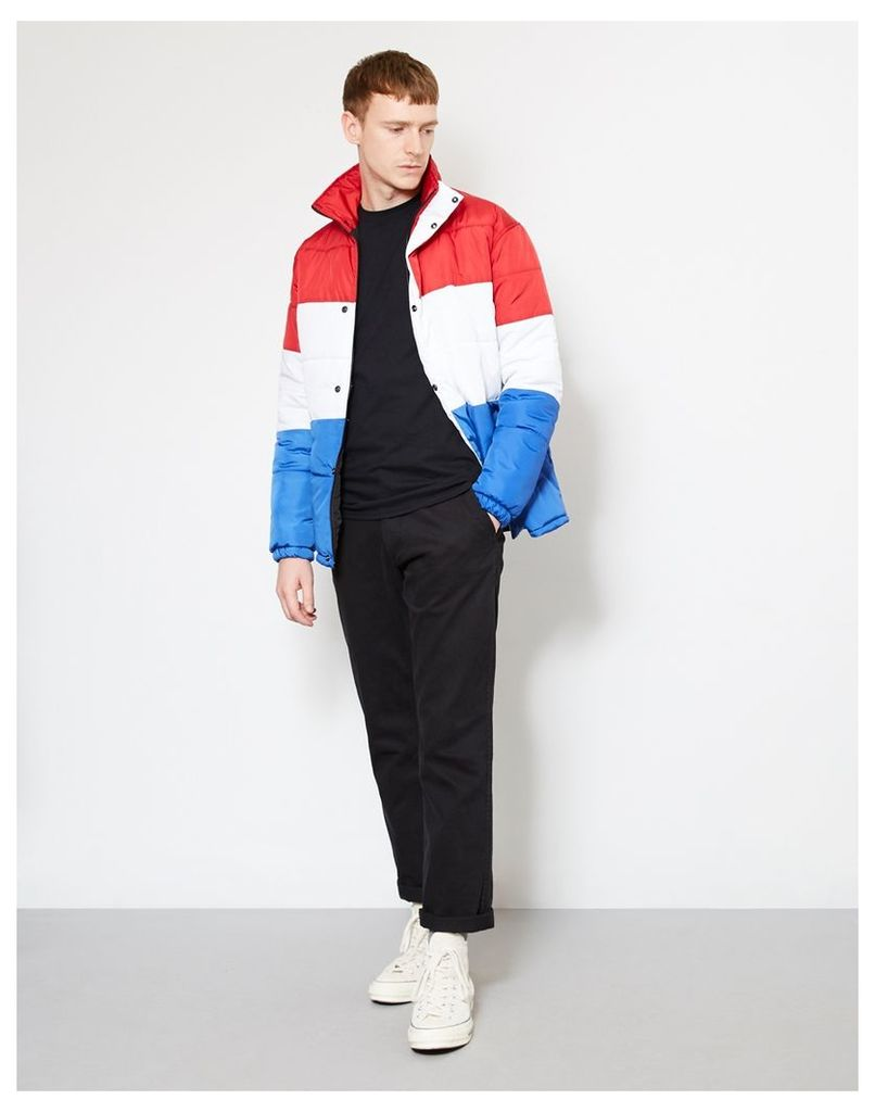 The Idle Man Colour Block Puffer Jacket Red, White & Blue