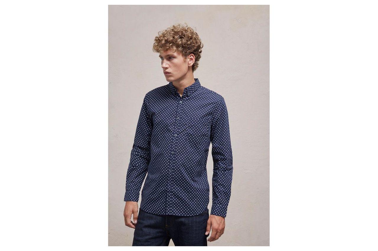 Polka Dot Slim Fit Shirt - polka dot blue/white