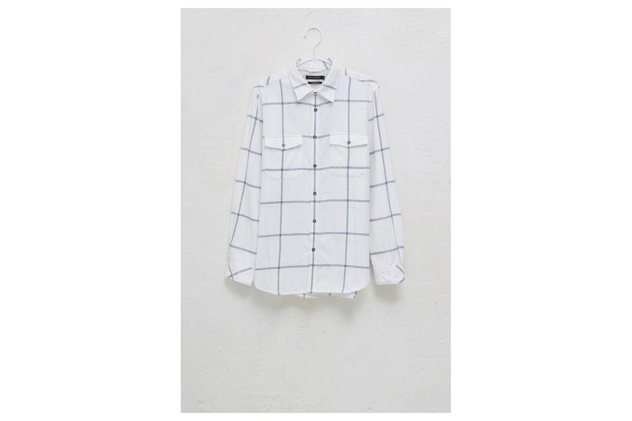 Windowpane Flannel Shirt - turtle dove/black iris